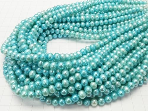 1strand $12.99! Fresh Water Pearl AAA- Potato 6-7mm Pastel Blue 1strand (aprx.15inch / 36cm)