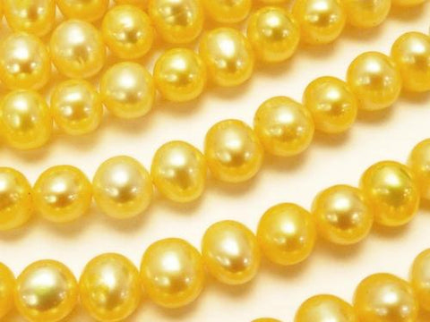 1strand $12.99! Fresh Water Pearl AAA- Potato 6-7mm Pastel Yellow 1strand (aprx.15inch / 36cm)