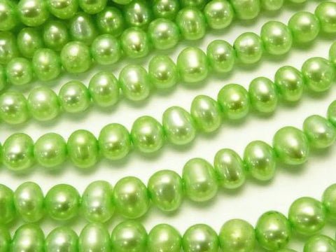 1strand $8.79! Fresh Water Pearl AAA--AA ++ Potato 4-5mm Pastel Green 1strand (aprx.14inch / 35cm)