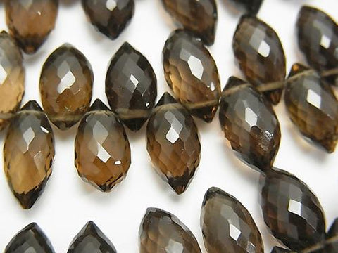 High Quality Smoky Crystal Quartz AAA Marquise Rice  Faceted Briolette  half or 1strand (aprx.5inch/12cm)