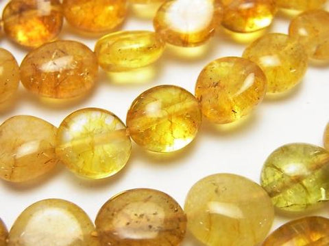 1strand $6.79! Yellow color Cracked Crystal Flat Nugget 1strand (aprx.15inch / 38cm)