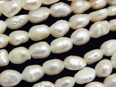 1strand $5.79! Fresh Water Pearl AA Baroque 8-9mm White [1mm Hole] 1strand (aprx.14inch / 35cm)