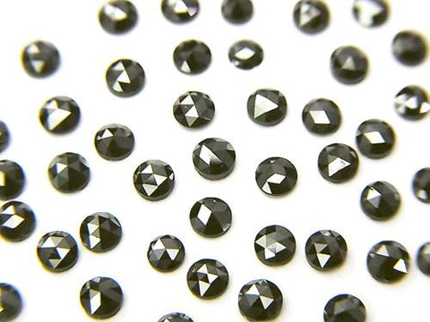 Black Diamond AAA Round Rose Cut 2.5x2.5x1mm 5pcs $19.99!