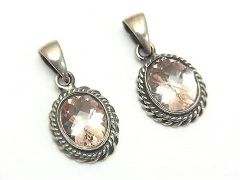 High Quality Morganite AAA Oval Faceted  Pendant 13x11x5mm Silver925 - kenkengems.com
