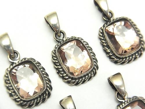 High Quality Morganite AAA Rectangle Faceted Pendant 13x12x5mm Silver925