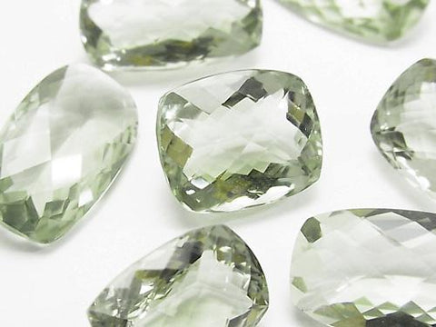 High Quality Green Amethyst AAA Undrilled Rectangle Faceted (Checker Cut) Size Mix 2pcs $29.99!