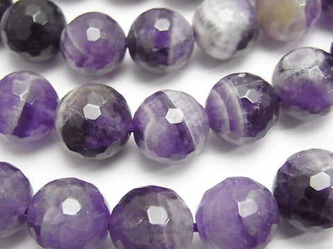 Striped Amethyst 128Faceted Round 12mm half or 1strand (aprx.15inch / 37cm)