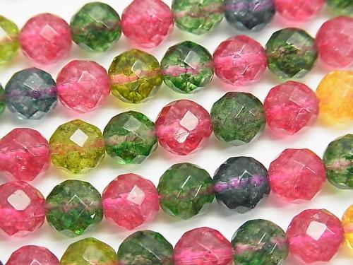 Multicolor Crystal 64 Faceted Round 8mm half or 1strand (aprx.15inch / 36cm)
