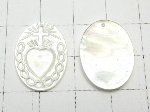 High Quality White Shell AAA Cross & Heart Carving Oval 20x15x2mm 1pc