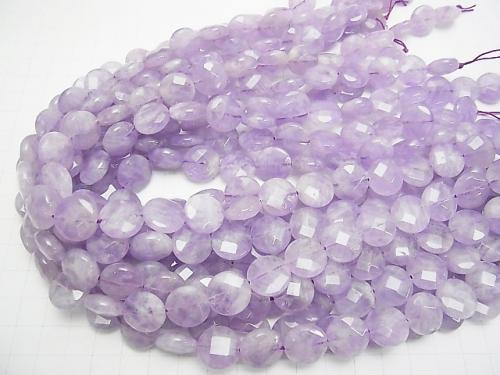 Lavender Amethyst AA ++ Faceted Coin 14x14x5mm half or 1strand (aprx.15inch / 37cm)