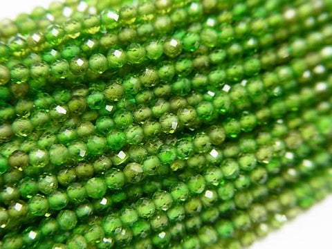 Diamond Cut! 1strand $14.99! Chrome Diopside AAA-Faceted Round 2mm 1strand (aprx.15inch / 38cm)