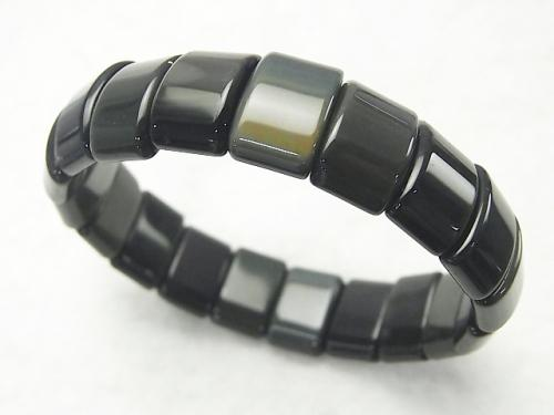 Mexico Black Obsidian AAA 2 Hole Rectangle 15x10x6mm 1strand (Bracelet)