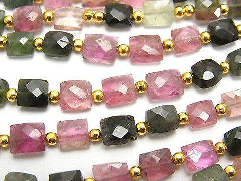 1strand $29.99! High Quality Multicolor Tourmaline AA + Faceted Rectangle 1strand (aprx. 7inch / 18cm)