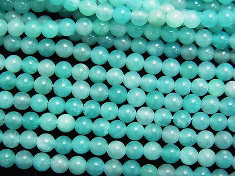 1strand $6.79! Brazil Amazonite AAA-Round 4mm 1strand (aprx.15inch / 38cm)