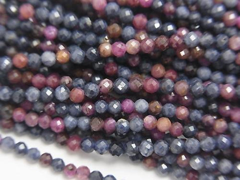 Diamond Cut! 1strand $8.79! Ruby & Sapphire AA + Faceted Round 2mm 1strand (aprx.15inch / 38cm)