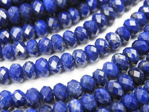 1strand $14.99! Diamond Cut!  Lapislazuli AAA--AA++ Faceted Button Roundel 5x5x3mm 1strand (aprx.15inch/36cm)