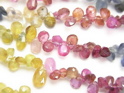 High Quality Multicolor Sapphire Small Size Pear shape Faceted Briolette half or 1strand (aprx. 7inch / 18cm)
