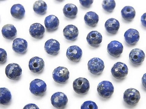 Lapislazuli AA++ Half Drilled Hole Faceted Round 4mm  10pcs $6.79!