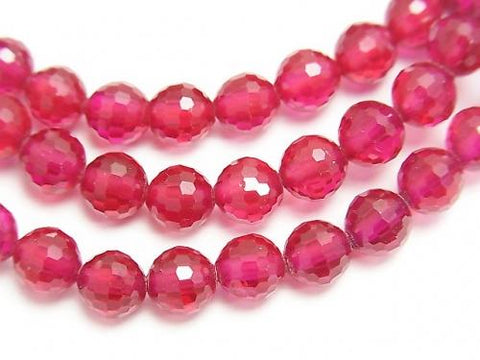 Diamond Cut! Labo Grown Ruby AAA 128 Faceted Round 6mm 1strand (Bracelet)