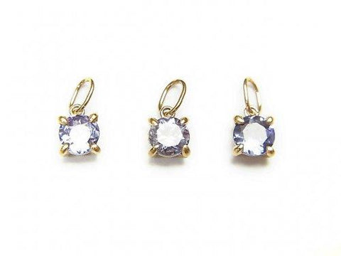 Made in Japan! High Quality Tanzanite AAA Pendant 4x4x3mm K10YG 1pc