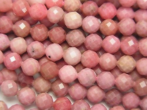 Diamond Cut!  1strand $11.79! Rhodonite AA++ Faceted Round 5mm  1strand (aprx.15inch/38cm)