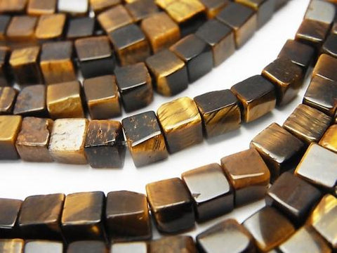 1strand $6.79! Yellow Tiger Eye AA + Cube 4x4x4mm 1strand (aprx.15inch / 37cm)