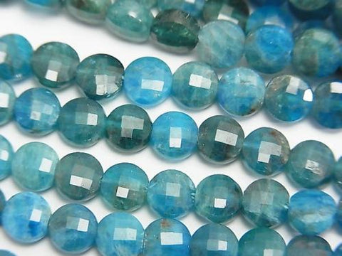 Diamond Cut!  1strand $12.99! Apatite AA+ Faceted Coin 6x6x3mm 1strand (aprx.15inch/37cm)