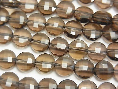 Diamond Cut! 1strand $9.79! Smoky Crystal Quartz AAA 'Faceted Coin 6x6x3mm 1strand (aprx.15inch / 37cm)