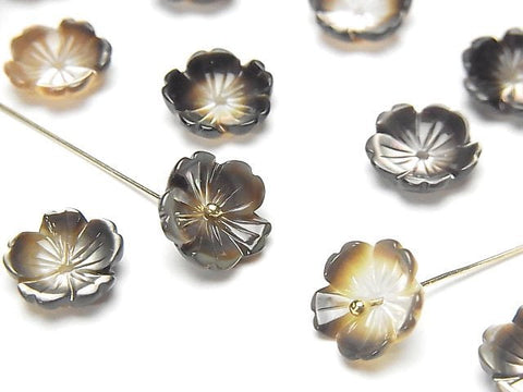High Quality Black Shell (Black-lip Oyster) AAA Solid Flower 10mm Central Hole 4pcs $4.19!