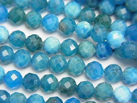 Diamond Cut! 1strand $11.79! Blue Apatite AA + Faceted Round 5mm 1strand (aprx.15inch / 38cm)