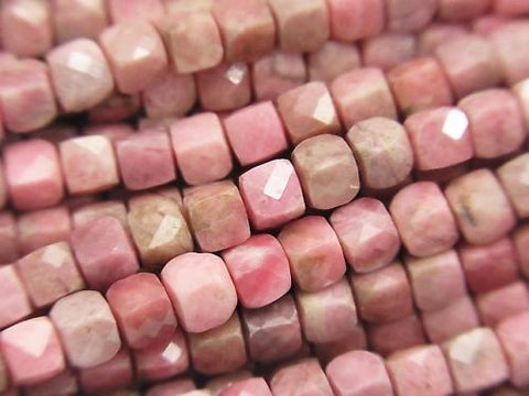 Diamond Cut!  1strand $14.99! Rhodonite AA++ Cube Shape 4x4x4mm 1strand (aprx.15inch/38cm)