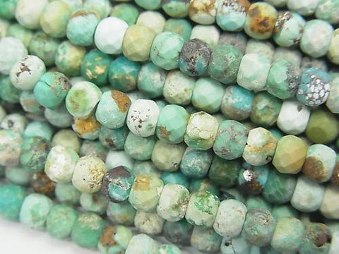 1strand $9.79! Turquoise AA Faceted Button Roundel 4x4x3mm 1strand (aprx.15inch/37cm)