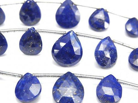 1strand $16.99! High Quality Lapislazuli AAA- Pear shape -Chestnut Faceted Briolette  1strand (aprx.6inch/15cm)