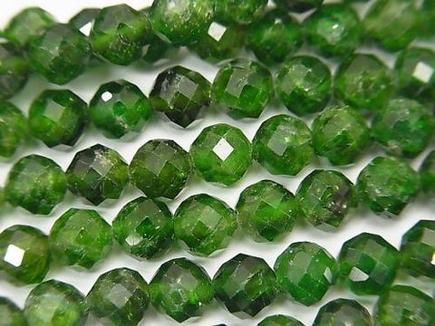 Diamond Cut! Chrome Diopside AA ++ Faceted Round 6mm 1/4 or 1strand (aprx.14inch / 35cm)
