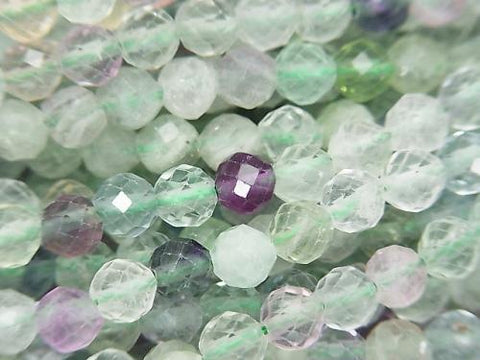 Diamond Cut! 1strand $5.79! Multicolor Fluorite AA + Faceted Round 5mm 1strand (aprx.15inch / 37cm)