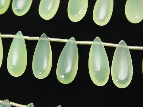 High Quality Light Green Color Chalcedony AAA Pear shape (Smooth) 15x6mm half or 1strand (aprx.6inch / 14cm)