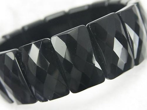 1strand $15.99! Black Obsidian AAA- 2 Hole Faceted Rectangle 20x12x7mm 1strand (Bracelet)