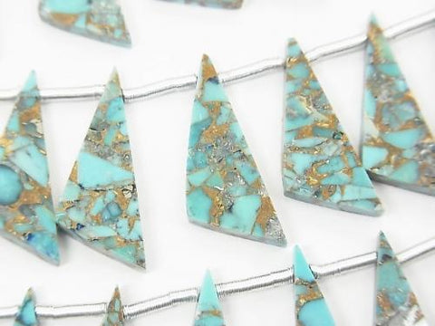 Sale! Blue Copper Turquoise AAA Flat Triangle 22x8mm half or 1strand (8pcs)