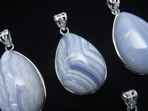 1pc $11.79! Blue Lace Agate AAA Pear shape Pendant 30x21x9mm Silver925