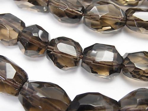 High Quality Smoky Crystal Quartz AAA- Faceted Nugget  half or 1strand (aprx.15inch/37cm)