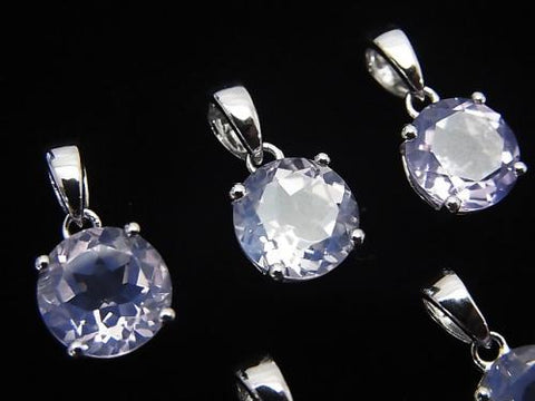 High Quality Scorolite AAA Round Faceted  Pendant 8x8x5mm Silver925