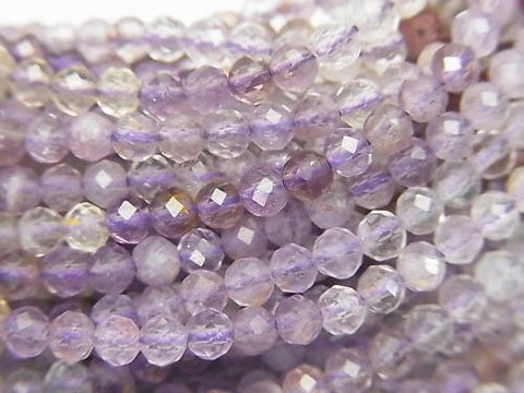 High quality! 1strand $8.79! Cacoxenite in Quartz Faceted Round 3mm Amethyst Color 1strand (aprx.15inch / 38cm)