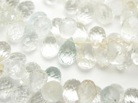 High Quality Beryl mix AAA- Drop Faceted Briolette half or 1strand (aprx.15inch / 36cm)