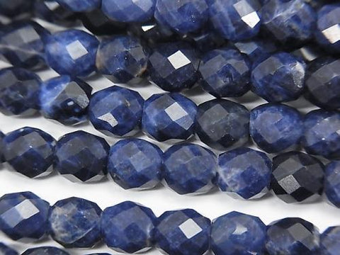 High Quality!  Sodalite AA++ Faceted Rice 6x6mm half or 1strand (aprx.15inch/37cm)