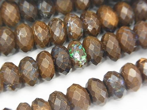 Australia Boulder Opal AA Faceted Button Roundel 8x8x5mm half or 1strand (aprx.15inch / 38cm)