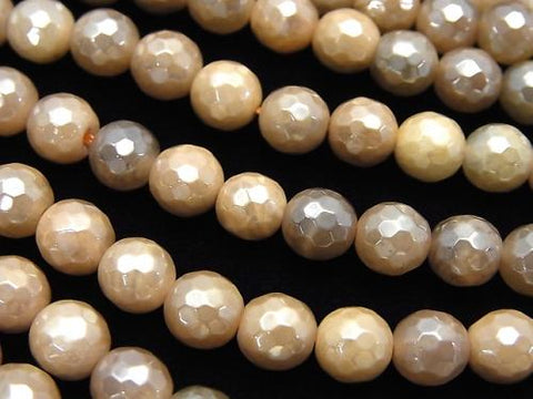 1strand $7.79! Brown Moon Stone AA ++ 128Faceted Round 6mm Coating 1strand (aprx.15inch / 37cm)