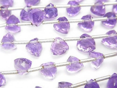 High Quality Light Color Amethyst AAA- 3D Triangle Cut half or 1strand (aprx.7inch / 18cm)