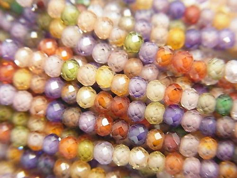 High Quality! 1strand $6.79! Multicolor, Cubic Zirconia AAA Faceted Button Roundel 3x3x2mm 1strand (aprx.15inch / 37cm)