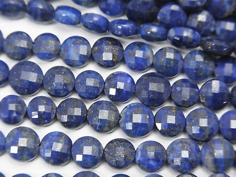 High Quality!  1strand $9.79! Lapislazuli AA++ Faceted Coin 5x5x2.5mm 1strand (aprx.15inch/36cm)
