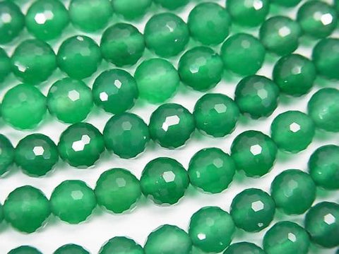 High quality! 1strand $7.79! Green Onyx AAA 128Faceted Round 6mm 1strand (aprx.15inch / 37cm)
